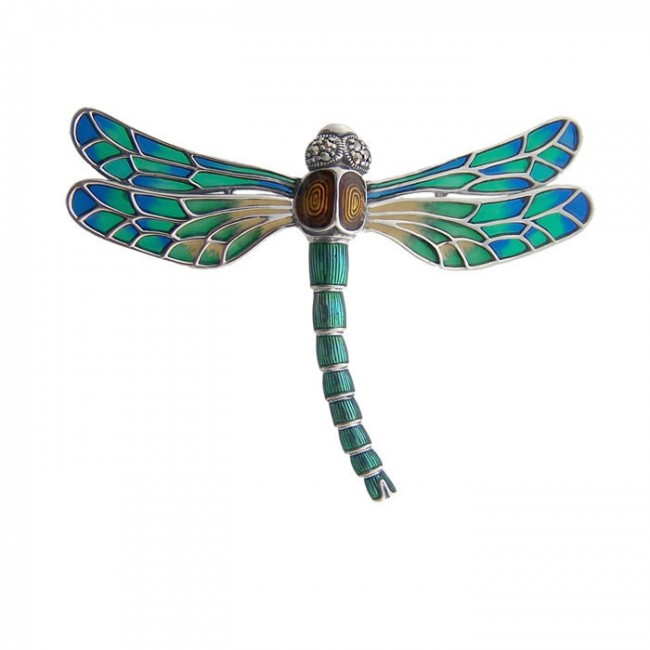 Sterling Silver Jewelled Art Nouveau Dragonfly Brooch