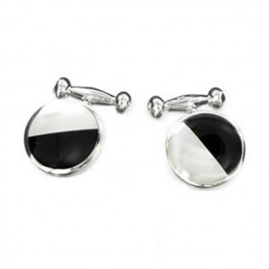 Sterling Silver Black And White Half Mop Style Cufflinks
