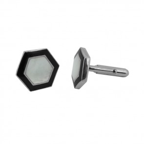 Sterling Silver Hexagonal Onyx Mother Of Pearl Cufflinks
