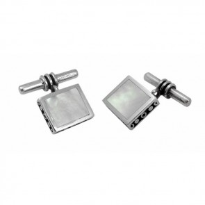 Sterling Silver Thick Square Mother Of Pearl Cufflinks