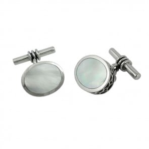 Sterling Silver Thick Oval Mother Of Pearl Cufflinks