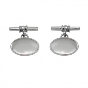 Sterling Silver Oval Mother Of Pearl Cufflinks