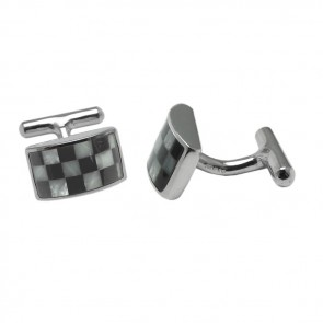 Sterling Silver Rectangular Onyx Mother Of Pearl Checked Cufflinks