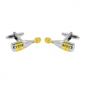 Sterling Silver With Gold Plate Champagne Bottle Cufflinks