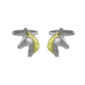 Sterling Silver With Gold Plate Horse Head Cufflinks