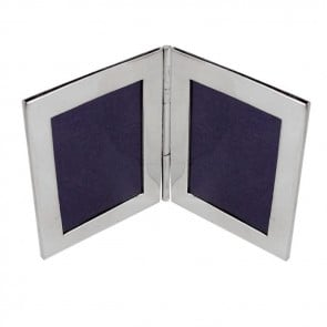 Sterling Silver Double Rectangle Miniature Folding Travel Photo Frame