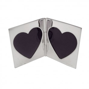 Sterling Silver Double Heart Miniature Folding Travel Photo Frame