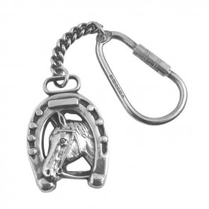 Sterling Silver Horseshoe And Head Keyring