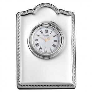 Sterling Silver Bead Boarder Mini Clock With Velvet Back