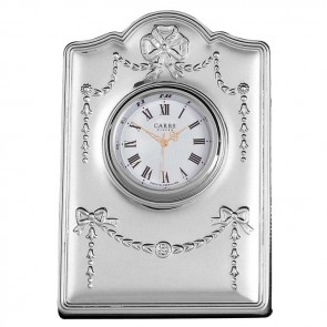 Sterling Silver Ribbon Detailed Mini Clock With Velvet Back