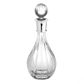 Sterling Silver And Crystal Wine Decanter Linear Cut Crystal 75cl 25 Floz