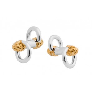 Sterling Silver Gold Plated Knot Toggle Cufflinks