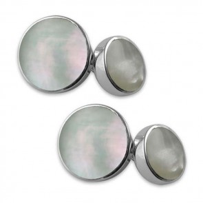 Sterling Silver Mother Of Pearl Round Cufflinks