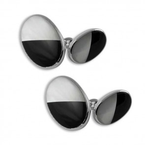 Sterling Silver Mother Of Pearl And Onyx Oval Cufflinks