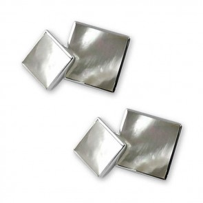 Sterling Silver Square Mother Of Pearl Cufflinks