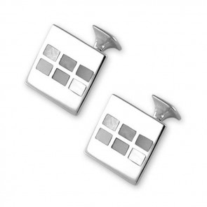 Sterling Silver Mother Of Pearl Mosaic Square Cufflinks