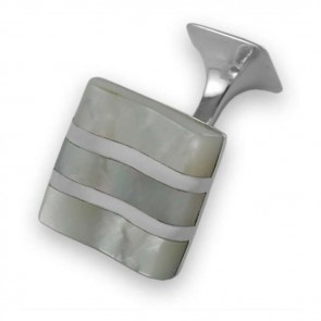 Sterling Silver Striped Mother Of Pearl Cufflinks