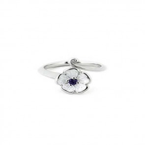 Sterling Silver and Amethyst White Rose Ring