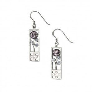 Sterling Silver Pink Mackintosh Rose Wire Earrings