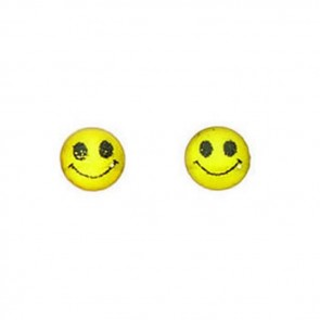 Sterling Silver Yellow Smiley Face Stud Earrings
