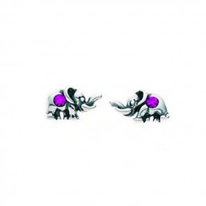 Sterling Silver Fuchsia Crystal Elephant Stud Earrings