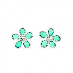 Sterling Silver Crystal And Light Blue Resin Flower Stud Earrings