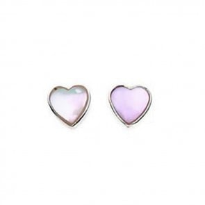 Sterling Silver White Mother Of Pearl Heart Stud Earrings