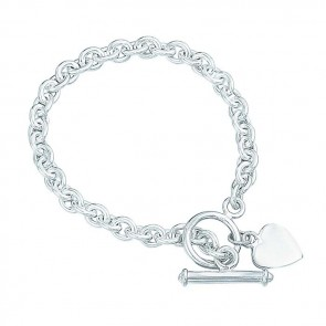 Sterling Silver 18cm Heart Tag T Bar Bracelet