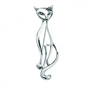 Sterling Silver Tall Cat Brooch