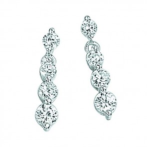 Sterling Silver Clear Cubic Zirconia Round Three Drop Earrings