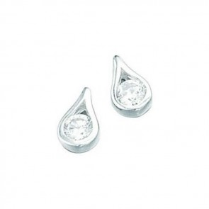 Sterling Silver Clear Teardrop Stud Earrings