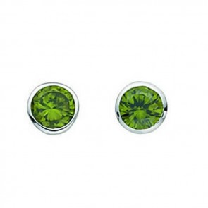 Sterling Silver Olivine Cubic Zirconia Round Stud Earrings