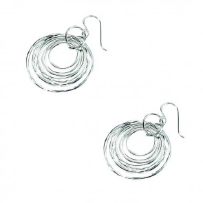 Sterling Silver Multi Hammered And Plain Disc Earrings