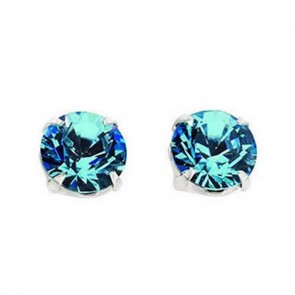 Sterling Silver Swarovski Crystal Aquamarine Stud Earrings
