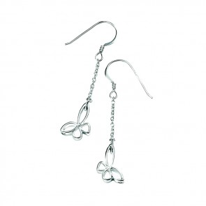 Sterling Silver Open Butterfly On Chain Earrings