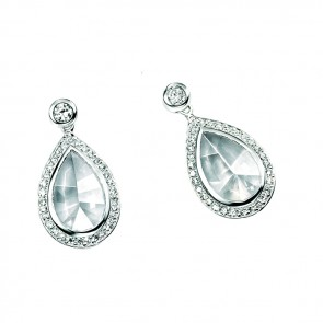 Sterling Silver Cubic Zirconia Fancy Cut Teardrop Earrings