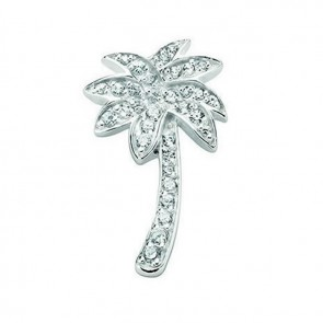 Sterling Silver Clear Cubic Zirconia Pave Palm Tree Pendant