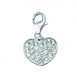 Sterling Silver Cubic Zirconia Pave Heart Charm