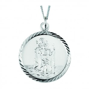 Sterling Silver St Christopher Styled Necklace