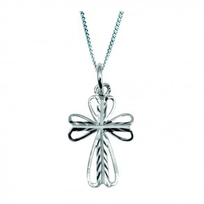 Sterling Silver Floral Cross Necklace