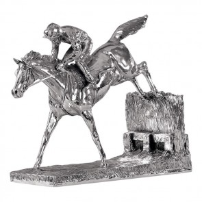 Sterling Silver Simple Horse And Jockey Sculpture