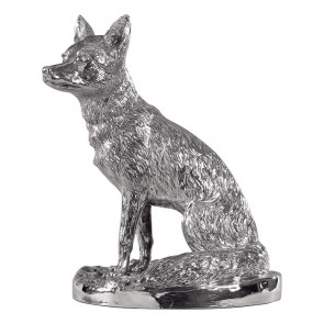 Sterling Silver Sitting Fox Sculpture