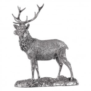 Sterling Silver Detailed Stag Sculpture