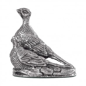 Sterling Silver Pheasants Sculpture