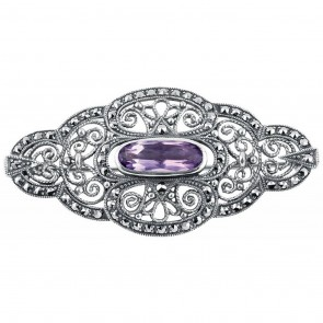 Sterling Silver Victorian Brooch Set With Amethyst And Marcasite