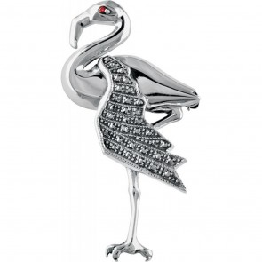 Sterling Silver Marcasite And Red Crystal Set Flamingo Brooch