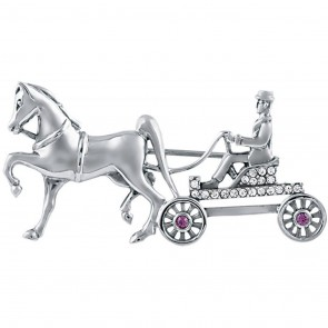 Sterling Silver Crystal And Amethyst Set Horse And Carriage Brooch