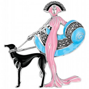 Sterling Silver Pink, Blue And Black Enamel Marcasite Set Lady And Dog Brooch