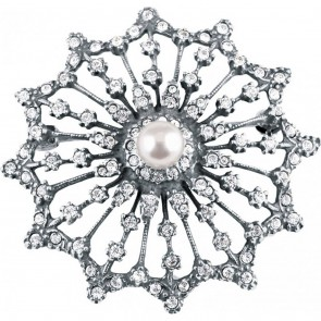 Sterling Silver Crystal And Cultured Pearl Starburst Brooch