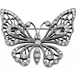 Sterling Silver Crystal Butterfly Brooch